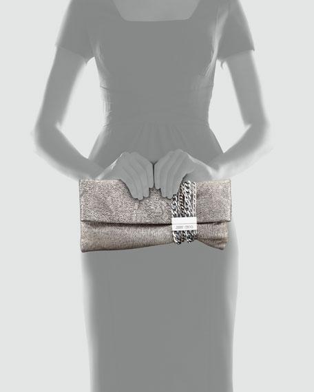 Jimmy Choo Chandra Metallic Chain Clutch Bag, Platinum