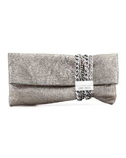 Jimmy Choo Chandra Metallic Chain Clutch Bag, Platinum
