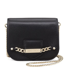 Jimmy Choo Shadow Leather Crossbody Bag, Black