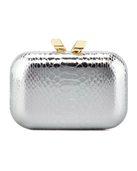 Margo Snake-Embossed Minaudiere, Silver