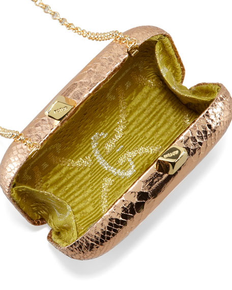 Margo Snake-Embossed Minaudiere, Rose Gold