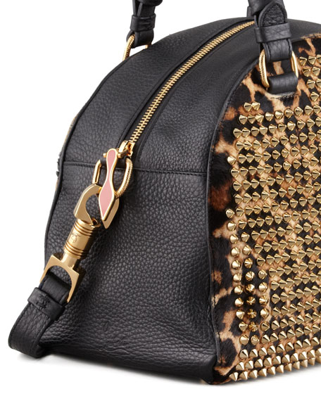 Panettone Small Spiked Leopard-Print Satchel Bag