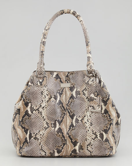 Village Convertible Snake-Print Tote Bag, Natural