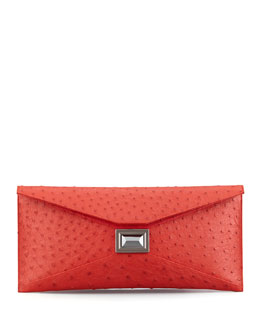 Kara Ross Super Stretch Prunella Ostrich Clutch Bag, Red