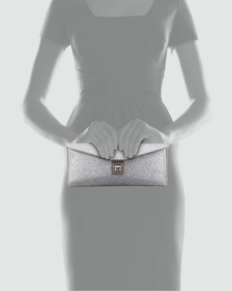 Stretch Prunella Glitter Clutch Bag, Silver