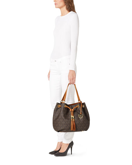 Jet Set Large Gathered Tote Bag, Brown