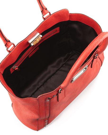 Emma Snake-Embossed Tote Bag, Red