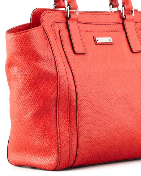 Emma Snake-Embossed Tote Bag, Red