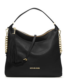 michael michael kors large bedford tassel pebbled shoulder bag. Black Bedroom Furniture Sets. Home Design Ideas