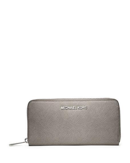 Jet Set Saffiano Continental Wallet, Pearl Gray