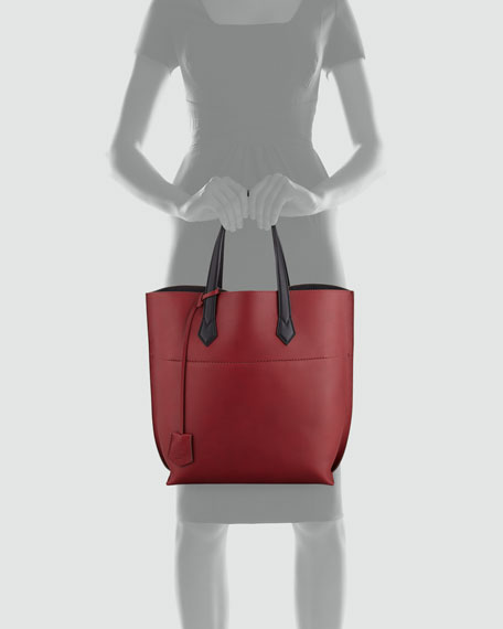 Matte Leather Shopping Tote Bag, Oxblood