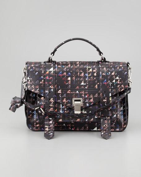 PS1 Crowd-Print Medium Satchel Bag, Black/Multicolor