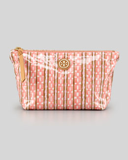 Tory Burch Dragonfly Check-Print Cosmetic Case