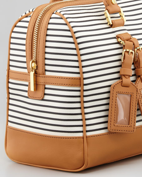 Viva Striped Coated Canvas Satchel Bag, Tory Navy