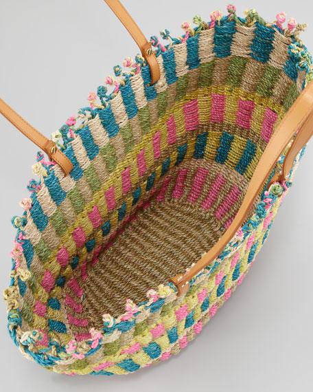 Striped Straw Tote Bag