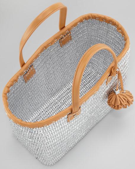 Chunky Metallic Straw Tote Bag, Silver