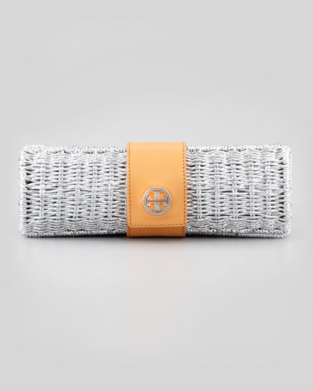 Chunky Metallic Straw Cylinder Clutch Bag, Silver