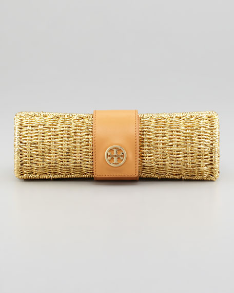 Chunky Metallic Straw Cylinder Clutch Bag, Gold