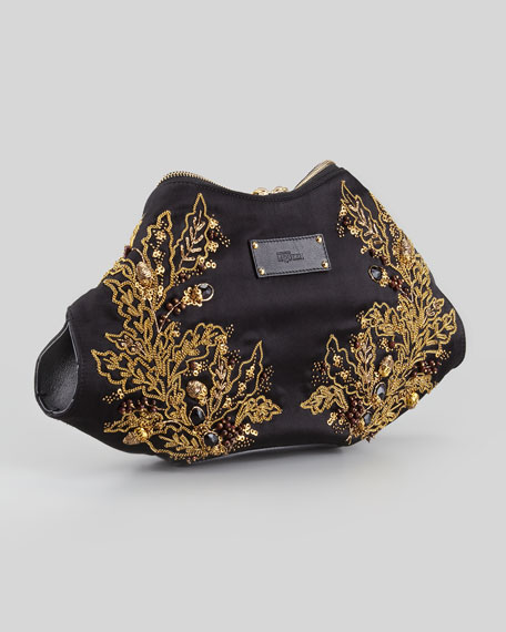 De-Manta Embroidered Clutch Bag, Black