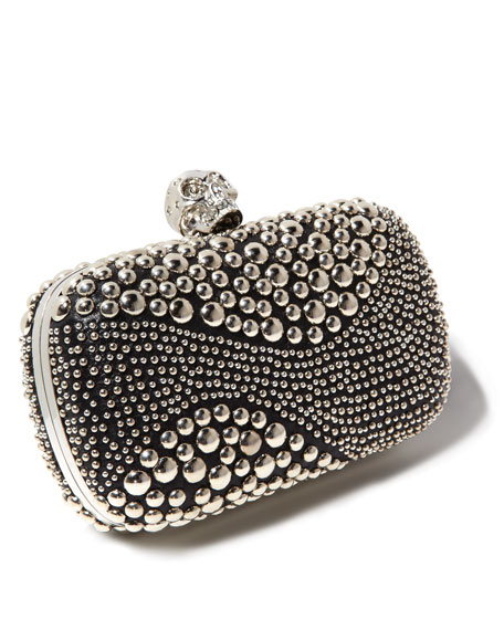 Classic Studded Skull-Clasp Clutch Bag, Black/Silver