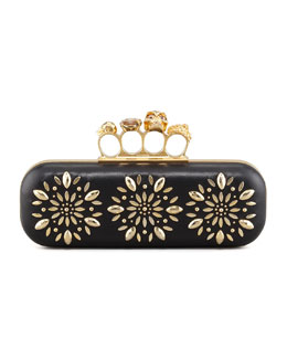 Alexander McQueen Floral Stud Long Knuckle Box Clutch Bag, Black