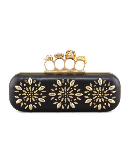Floral Stud Long Knuckle Box Clutch Bag, Black