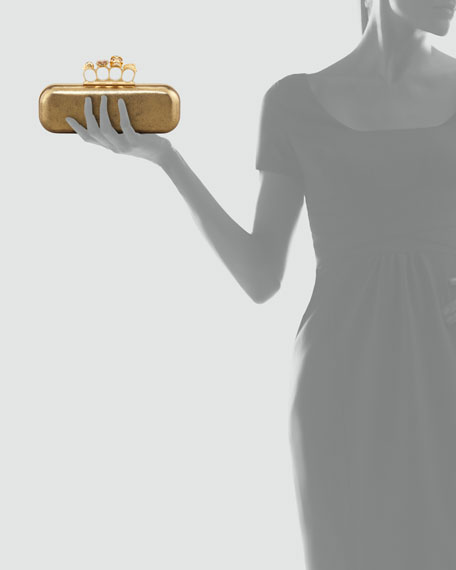 Metallic Long Knuckle Box Clutch Bag, Gold