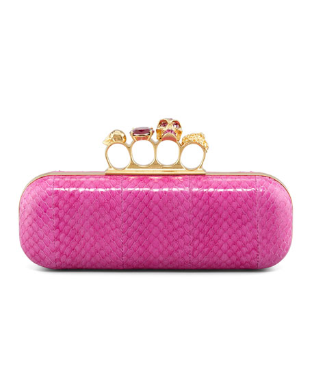 Knuckle-Duster Snakeskin Box Clutch, Pink