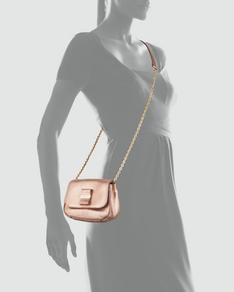 Rosita Metallic Crossbody Bag, Champagne