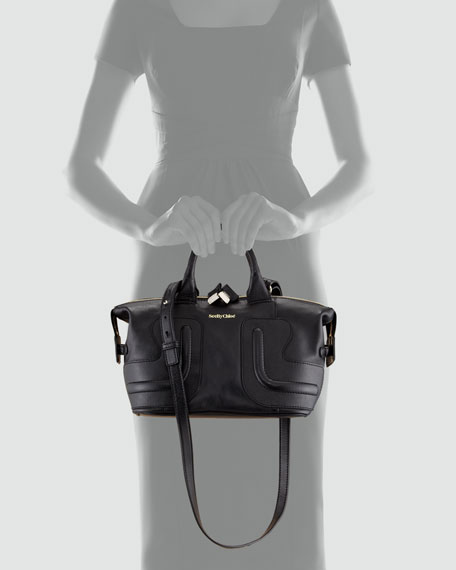 Kay Leather Satchel Bag, Black