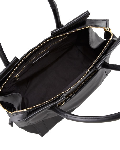 Iris Leather Tote Bag, Black