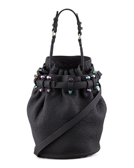 Diego Bucket Bag, Black/Iridescent