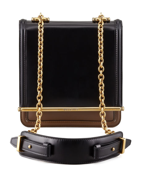 Diana Chain Compartment Shoulder Bag, Black/Dark Military