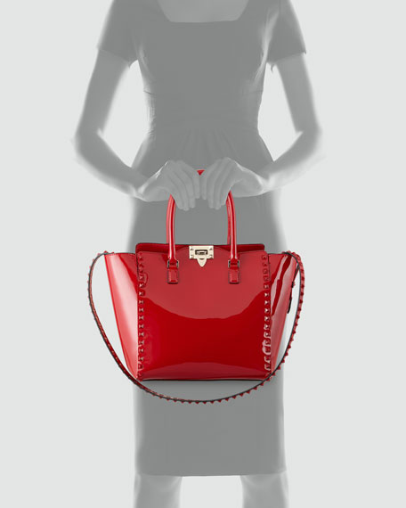 Punkouture Studded Patent Tote Bag, Red