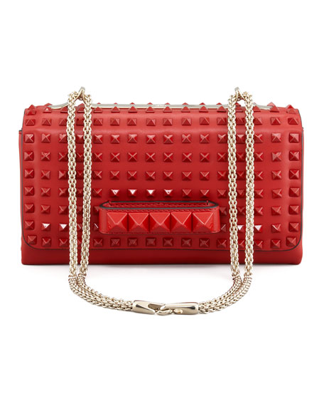 Rockstud Chain Flap Bag, Rouge