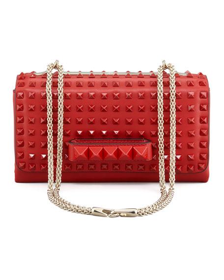 Rockstud Chain Flap Bag, Rouge
