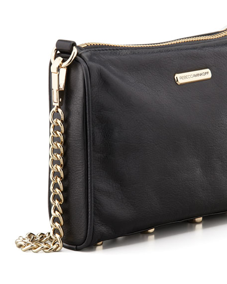 Five-Zip Mini Crossbody Bag, Black
