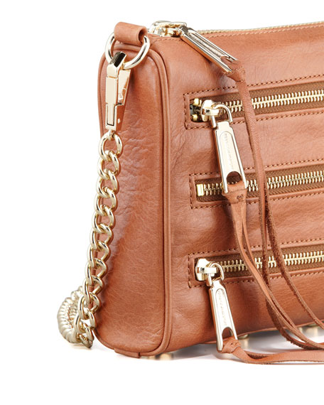 Five-Zip Mini Crossbody Bag, Almond