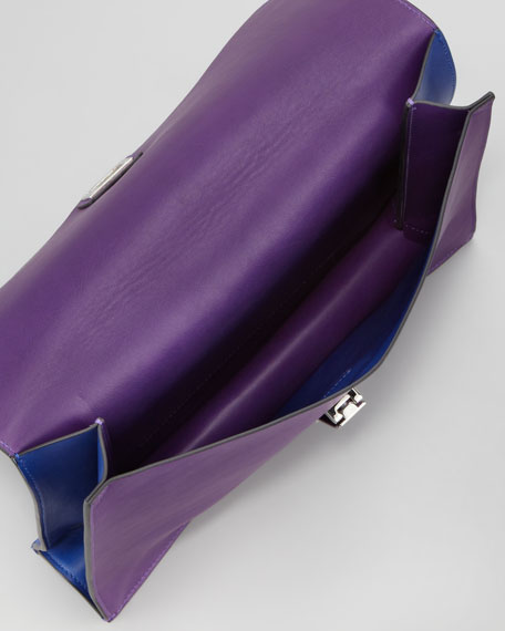 Large Bicolor Lunch Bag Clutch, Blue/Purple