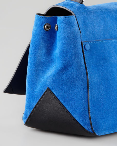 PS Courier Suede Satchel Bag, Blue/Black
