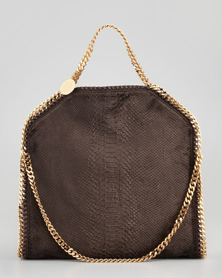 Falabella Snake-Embossed Fold-Over Bag, Bronze