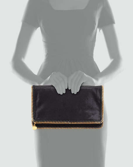 Falabella Fold-Over Clutch Bag, Black