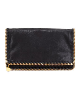 Stella McCartney Falabella Fold-Over Clutch Bag, Black