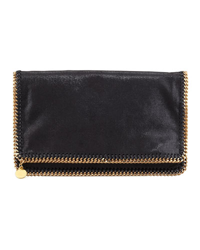 Falabella Fold-Over Clutch Bag, Black