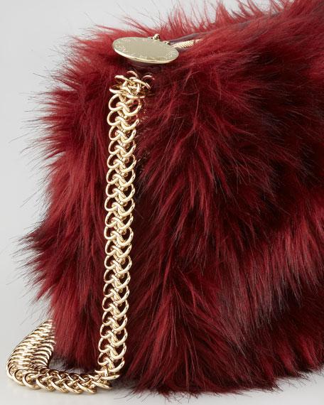 Grizzly Faux-Fur Crossbody Bag, Garnet