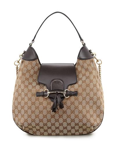 Gucci Emily GG Chain-Strap Hobo Bag, Brown