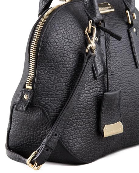 Small Heritage Leather Satchel Bag, Black
