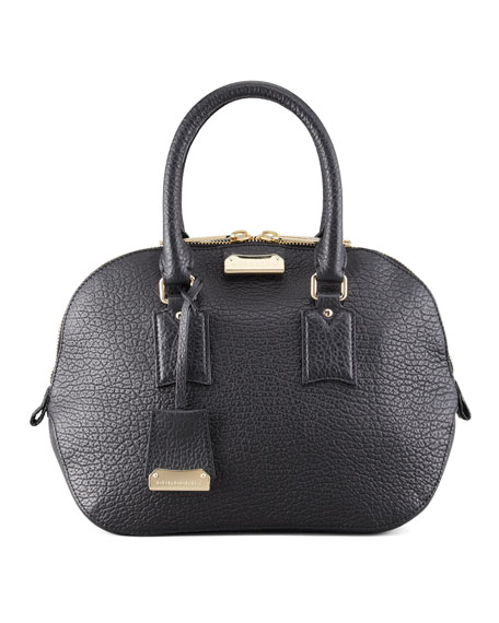 Small Heritage Leather Satchel Bag, Black