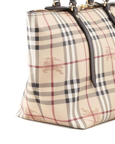 Small Two-Way Zip Check Tote Bag, Chocolate