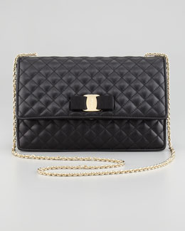 Salvatore Ferragamo Ginny Vara Quilted Flap Shoulder Bag, Black